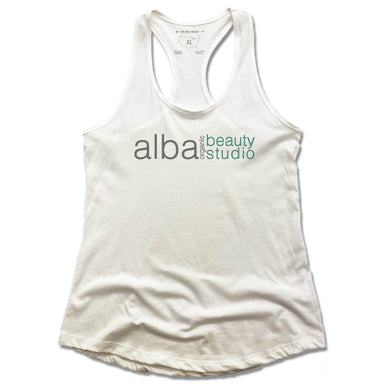 ALBA ORGANIC BEAUTY STUDIO | LADIES WHITE TANK | LOGO