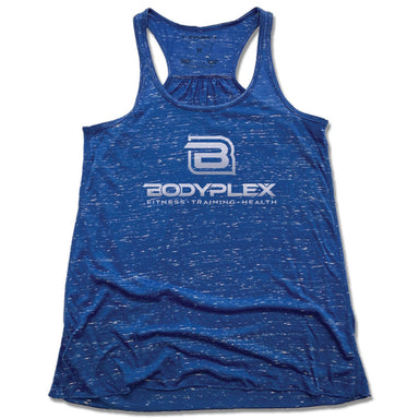 BODYPLEX | LADIES BLUE FLOWY TANK | SILVER LOGO