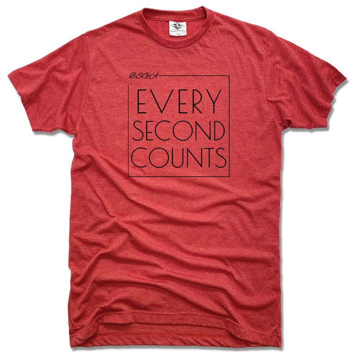 BRIGHT STARS GYMNASTICS ACADEMY | UNISEX RED TEE | EVERY SECOND COUNTS