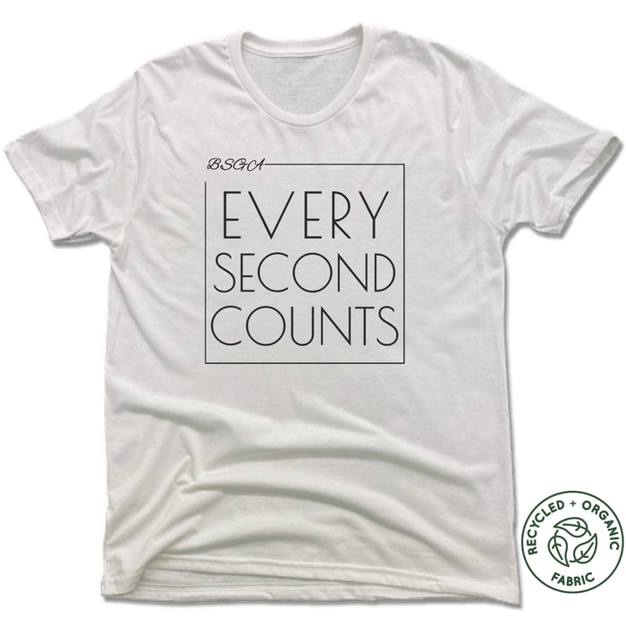 BRIGHT STARS GYMNASTICS ACADEMY | UNISEX WHITE Recycled Tri-Blend | EVERY SECOND COUNTS