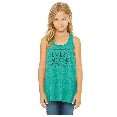 BRIGHT STARS GYMNASTICS ACADEMY | YOUTH TEAL FLOWY TANK | EVERY SECOND COUNTS