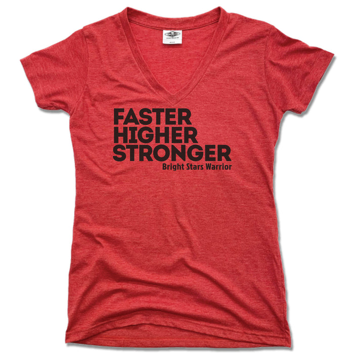 BRIGHT STARS GYMNASTICS ACADEMY | LADIES RED V-NECK | FASTER HIGHER STRONGER