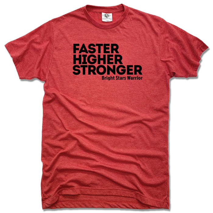 BRIGHT STARS GYMNASTICS ACADEMY | UNISEX RED TEE | FASTER HIGHER STRONGER