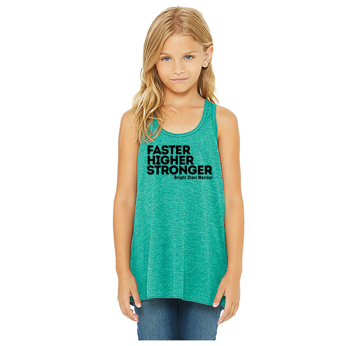BRIGHT STARS GYMNASTICS ACADEMY | YOUTH TEAL FLOWY TANK | FASTER HIGHER STRONGER
