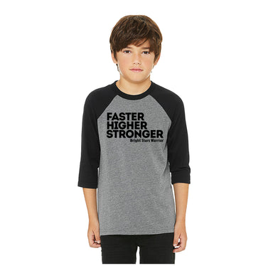 BRIGHT STARS GYMNASTICS ACADEMY | YOUTH 3/4 SLEEVE | FASTER HIGHER STRONGER
