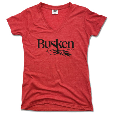 BUSKEN BAKERY | LADIES RED V-NECK | LOGO
