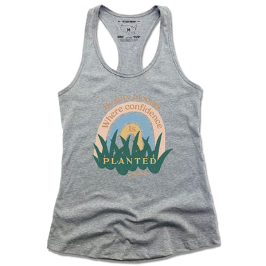 AV Beauty Bar | LADIES GRAY TANK | BEAUTY BLOOMS