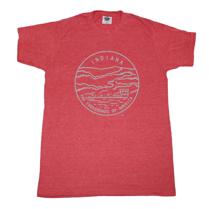 INDIANA RED TEE | STATE SEAL | THE CROSSROADS OF AMERICA