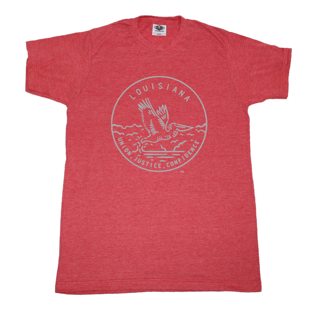 LOUISIANA RED TEE | STATE SEAL | UNION, JUSTICE, CONFIDENCE