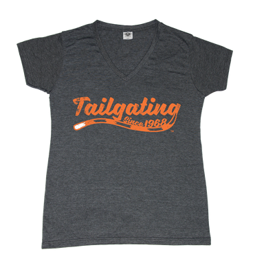 OHIO LADIES' V-NECK TEE | TAILGATING | ORANGE