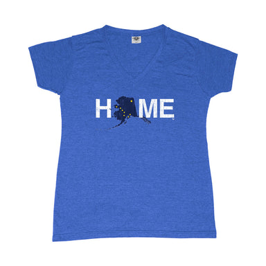 ALASKA LADIES' BLUE V-NECK TEE | HOME | FLAG