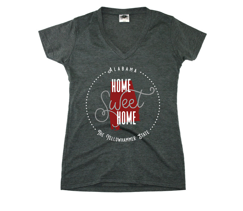 ALABAMA LADIES V-NECK | HOME SWEET HOME | CRIMSON/GRAY