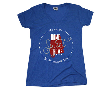 ALABAMA LADIES BLUE V-NECK | HOME SWEET HOME | CRIMSON/GRAY