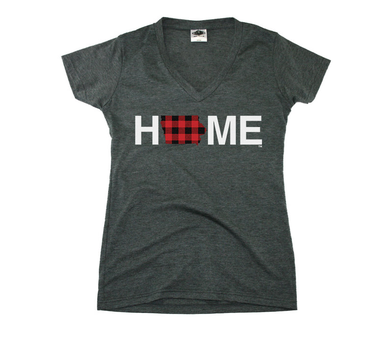 IOWA LADIES V-NECK TEE | HOME | PLAID