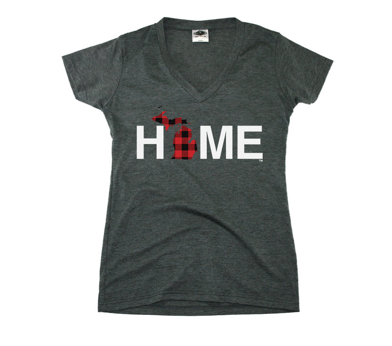 MICHIGAN LADIES V-NECK TEE | HOME | PLAID