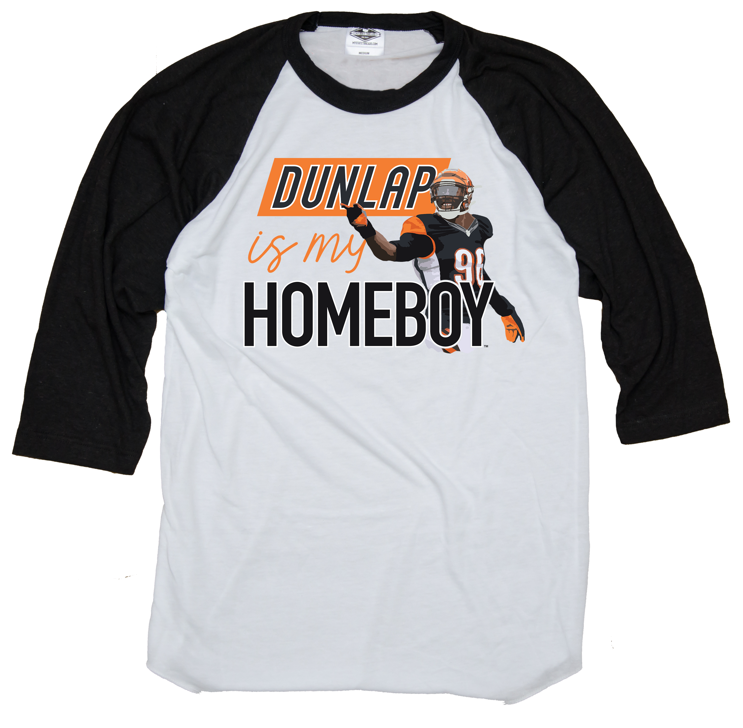 CARLOS DUNLAP IS MY HOMEBOY | 3/4 SLEEVE | WHITE/CHARCOAL