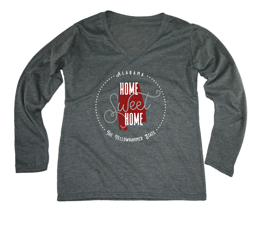 ALABAMA LADIES' LONG SLEEVE V-NECK | HOME SWEET HOME | CRIMSON/GRAY