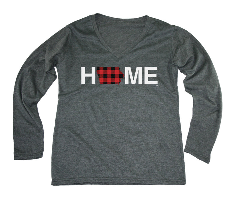 IOWA LADIES LONG SLEEVE V-NECK TEE | HOME | PLAID