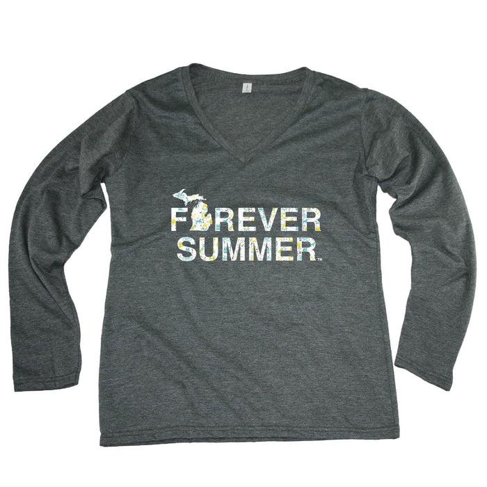 MICHIGAN LADIES' LONGSLEEVE V-NECK | FOREVER SUMMER | NORTHERN PATTERN