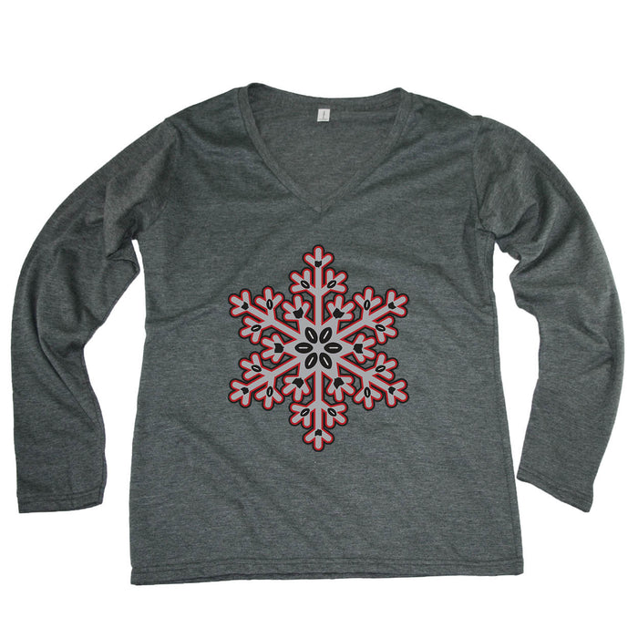 OHIO LADIES' LONG SLEEVE TEE | SNOWFLAKE | GRAY/SCARLET