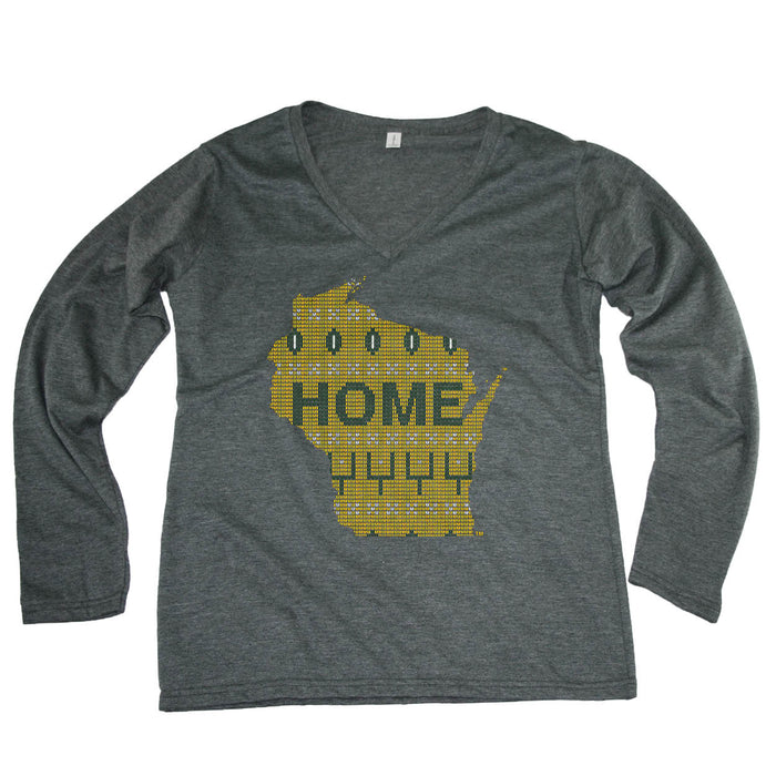 WISCONSIN LADIES' LONG SLEEVE TEE | HOME | SWEATER GREEN/GOLD