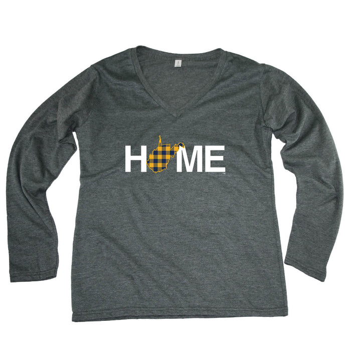 WEST VIRGINIA LADIES' LONG SLEEVE TEE | HOME | PLAID NAVY/GOLD