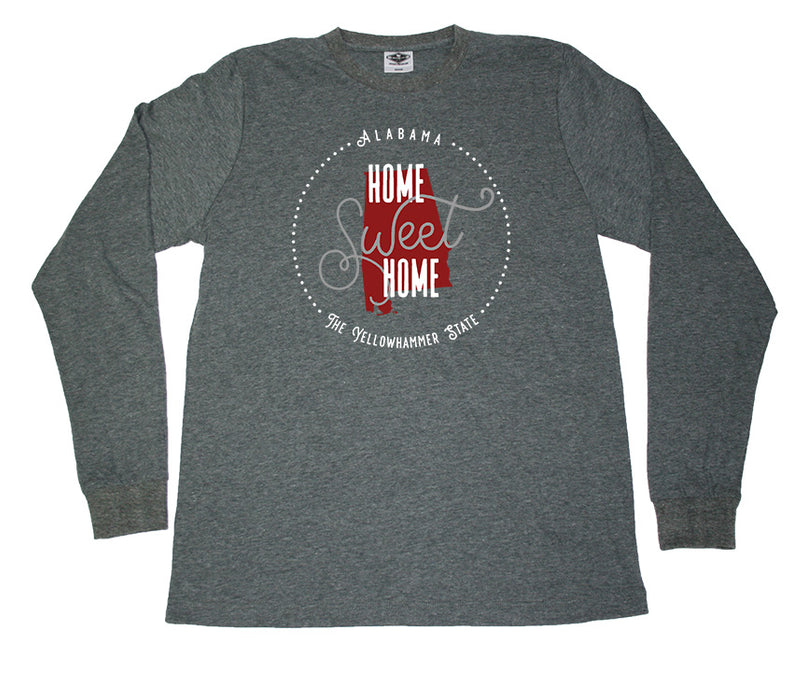 ALABAMA LONG SLEEVE TEE | HOME SWEET HOME | CRIMSON/GRAY