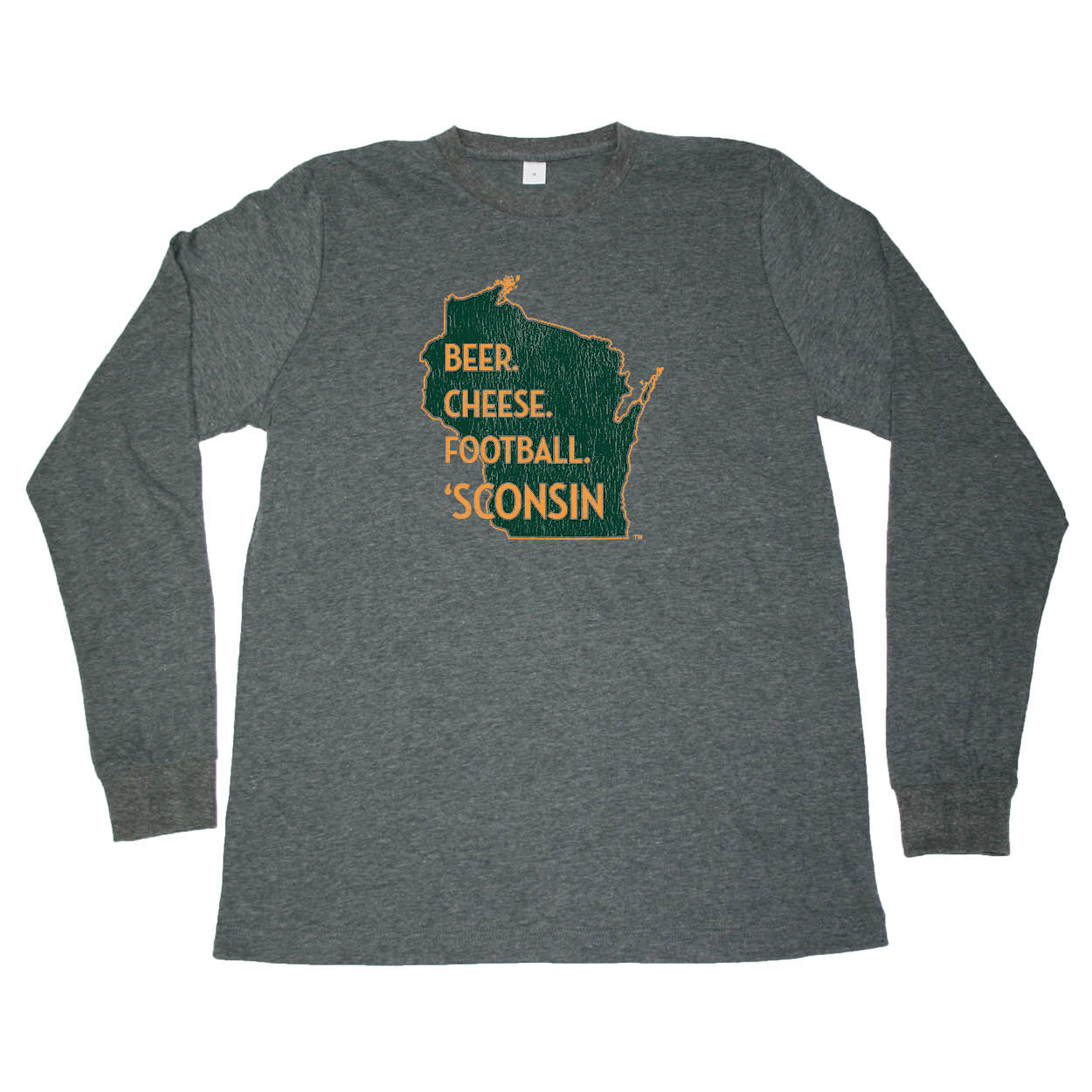 WISCONSIN LONG SLEEVE TEE | BEER, CHEESE, FOOTBALL | BEER, CHEESE, FOOTBALL