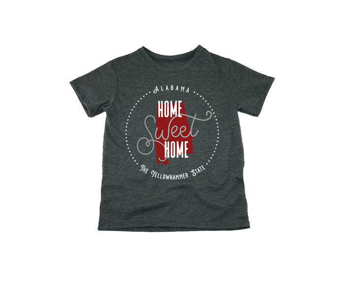 ALABAMA KIDS TEE | HOME SWEET HOME | CRIMSON/GRAY