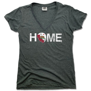 CALIFORNIA HOME TEE - LADIES' V-NECK | CHARCOAL