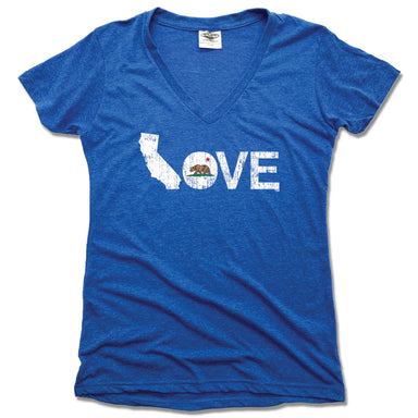 CALIFORNIA LADIES V-NECK BLUE - LOVE | FLAG