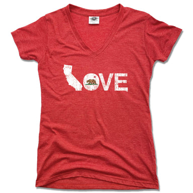 CALIFORNIA LADIES V-NECK RED - LOVE | FLAG