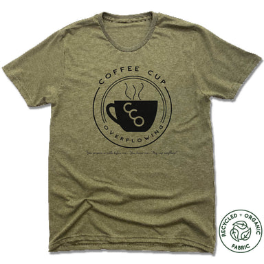 COFFEE CUP OVERFLOWING | UNISEX OLIVE Recycled Tri-Blend | LOGO