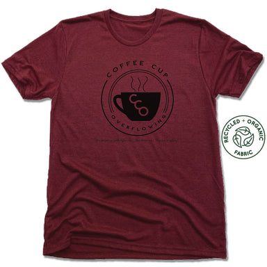 COFFEE CUP OVERFLOWING | UNISEX VINO RED Recycled Tri-Blend | LOGO