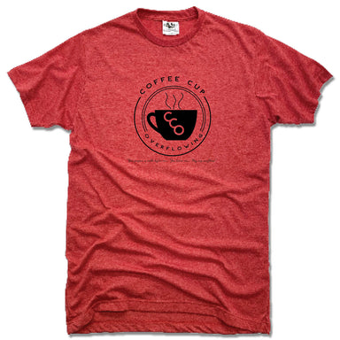 COFFEE CUP OVERFLOWING | UNISEX RED TEE | LOGO