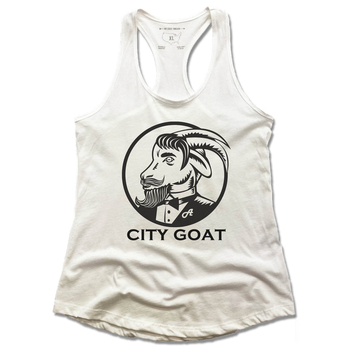 CITY GOAT | LADIES WHITE TANK | LOGO