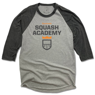 CINCINNATI SQUASH ACADEMY | GRAY 3/4 SLEEVE | COLOR LOGO