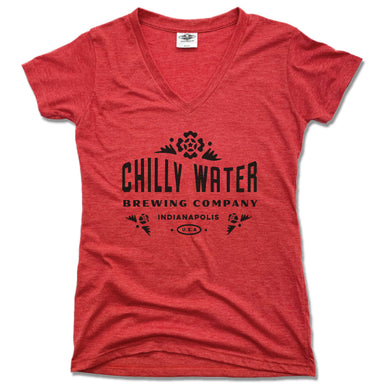 CHILLY WATER BREWING | LADIES RED V-NECK | CWB BLACK LOGO