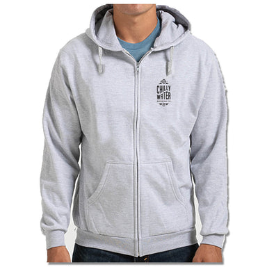 CHILLY WATER BREWING | LIGHT GRAY ZIP HOODIE | CWB VERTICALSPOT BLACK LOGO
