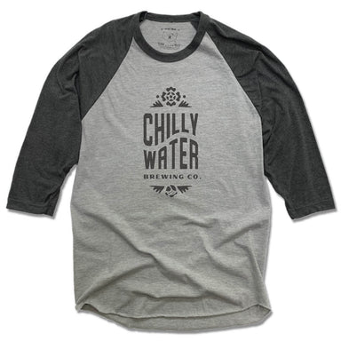CHILLY WATER BREWING | GRAY 3/4 SLEEVE | CWB VERTICALSPOT BLACK LOGO
