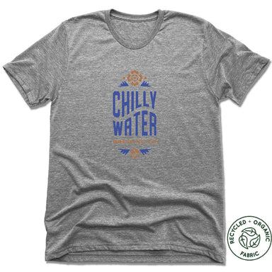 CHILLY WATER BREWING | UNISEX GRAY Recycled Tri-Blend | CWB VERTICALSPOT COLOR LOGO