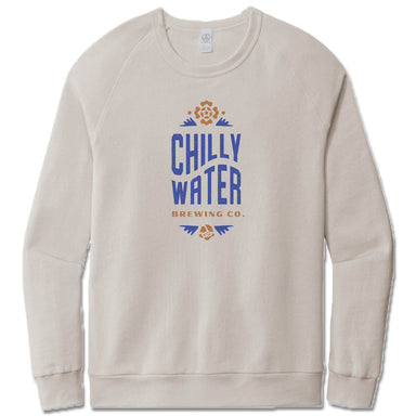 CHILLY WATER BREWING | LIGHT GRAY FRENCH TERRY SWEATSHIRT | CWB VERTICALSPOT COLOR LOGO