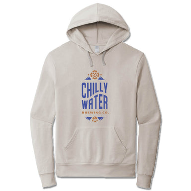 CHILLY WATER BREWING | LIGHT GRAY FRENCH TERRY HOODIE | CWB VERTICALSPOT COLOR LOGO