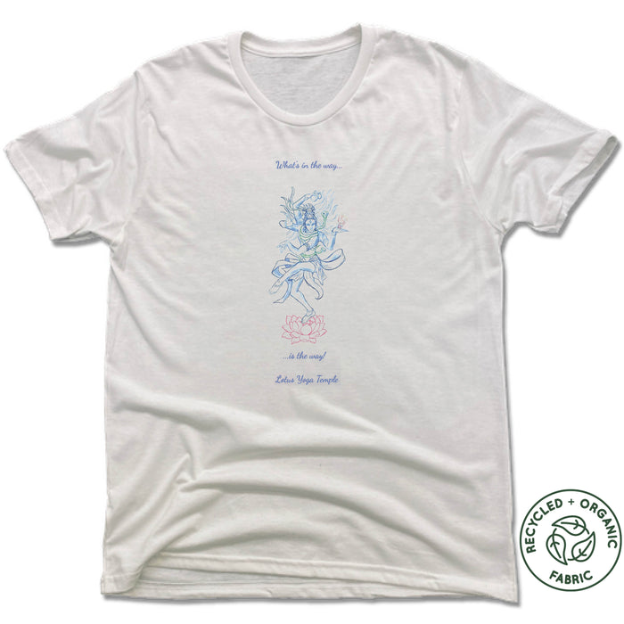 LOTUS YOGA TEMPLE | UNISEX WHITE Recycled Tri-Blend | THE WAY