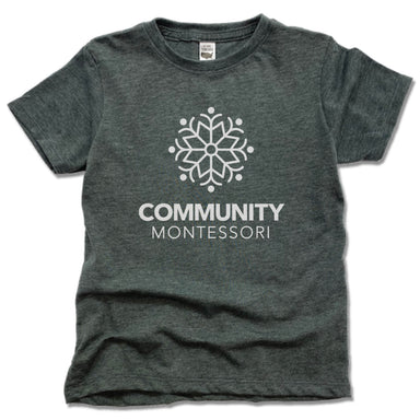 COMMUNITY MONTESSORI | KIDS TEE | WHITE LOGO