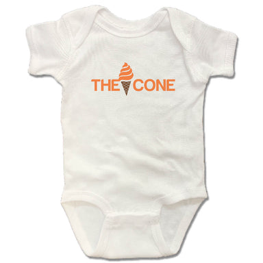 THE CONE | WHITE ONESIE | ORANGE SWIRL