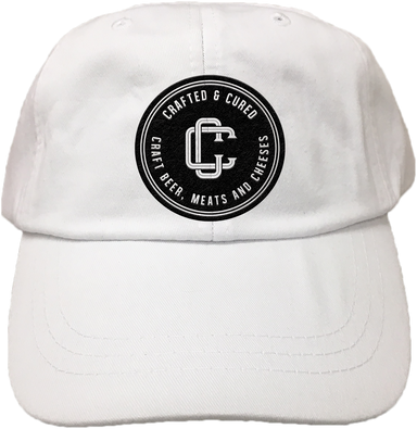 CRAFTED & CURED | EMBROIDERED WHITE HAT | LOGO
