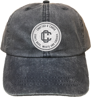 CRAFTED & CURED | EMBROIDERED BLACK HAT | LOGO
