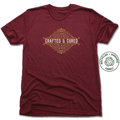 CRAFTED & CURED | UNISEX VINO RED Recycled Tri-Blend | CREST LOGO