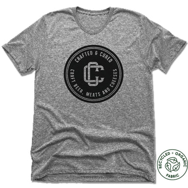 CRAFTED & CURED | UNISEX GRAY Recycled Tri-Blend | BLACK LOGO